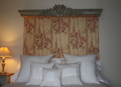 19th century French painted cantonniere and linen