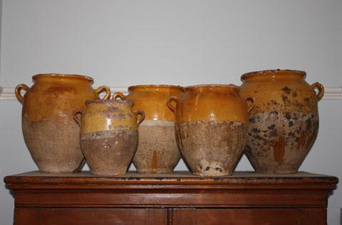 19th century glazed confit jars