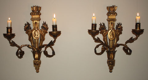 Pair of 18th Louis XVI giltwood candle sconces