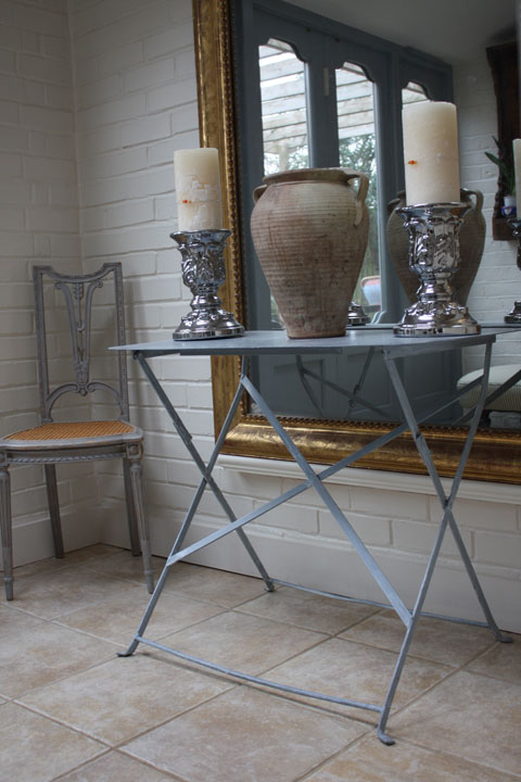 Vintage French metal table and Louis XVI style painted chair