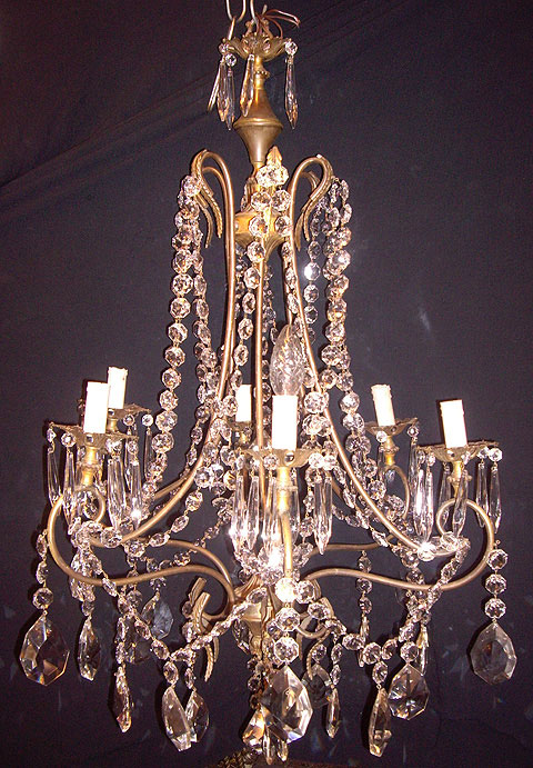 One of a pair of French chandeliers from Crystal Corner