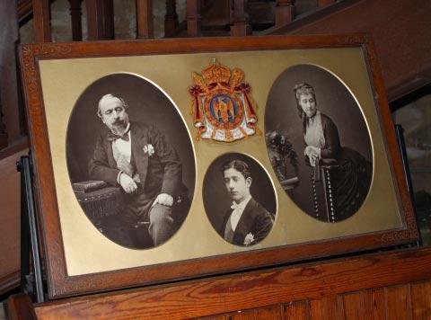 Napoleon III, Empress Eugenie and their son Louis.