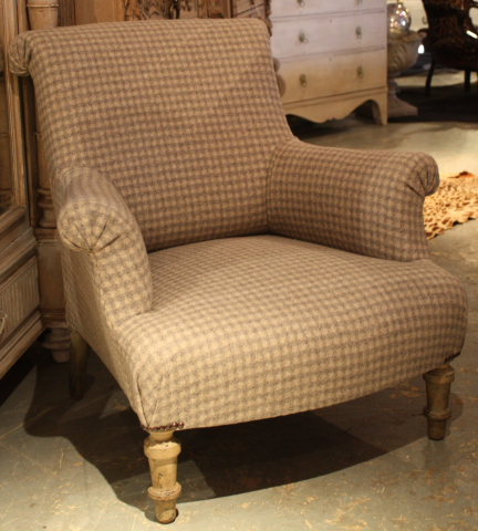Vintage French chair re-upholstered in a wool fabric £895 from Life, Nettlebed, Oxon.