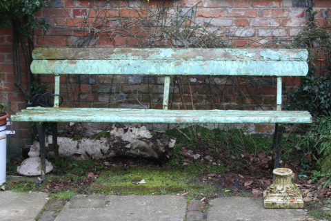 19th century old painted bench £650 from Life, Nettlebed, Oxon.