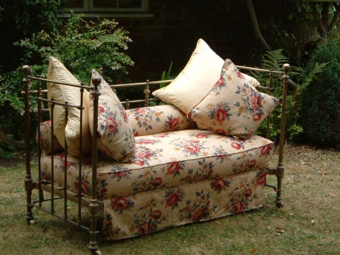 French vintage metal folding daybed from Life, Nettlebed, Oxon.
